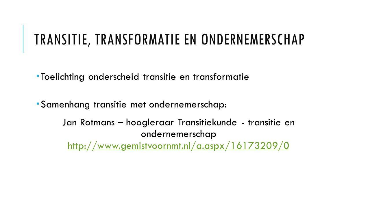 TRANSITIE, TRANSFORMATIE EN ONDERNEMERSCHAP  Toelichting onderscheid transitie en transformatie  Samenhang transitie met ondernemerschap: Jan Rotmans – hoogleraar Transitiekunde - transitie en ondernemerschap http://www.gemistvoornmt.nl/a.aspx/16173209/0 http://www.gemistvoornmt.nl/a.aspx/16173209/0