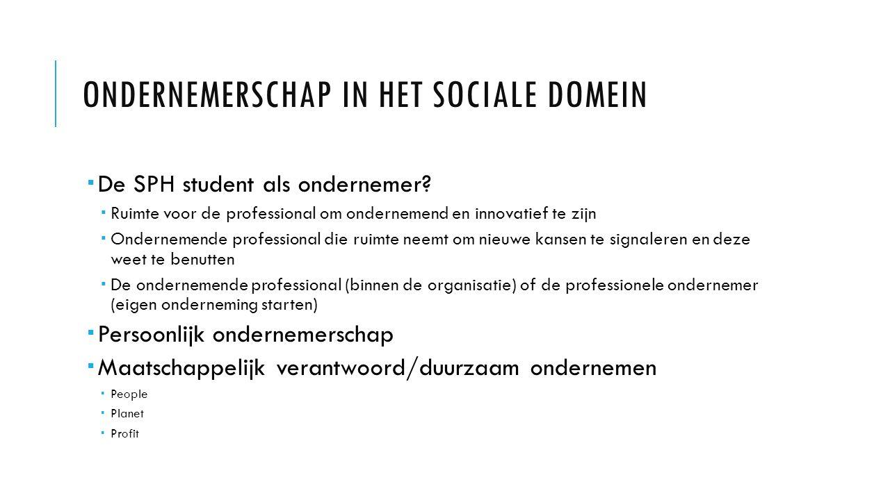ONDERNEMERSCHAP IN HET SOCIALE DOMEIN  De SPH student als ondernemer?  Ruimte voor de professional om ondernemend en innovatief te zijn  Ondernemen