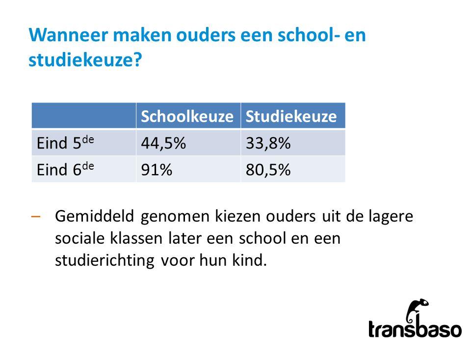 Wanneer maken ouders een school- en studiekeuze? –Gemiddeld genomen kiezen ouders uit de lagere sociale klassen later een school en een studierichting