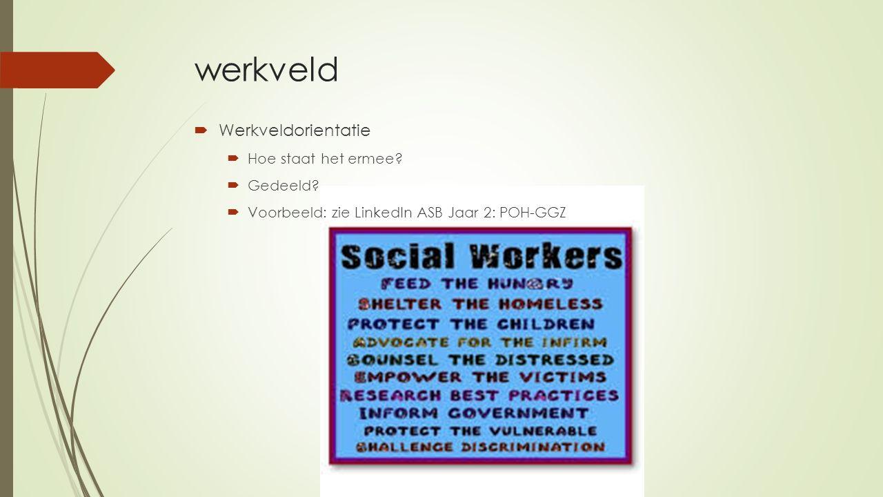 werkveld  Werkveldorientatie  Hoe staat het ermee?  Gedeeld?  Voorbeeld: zie LinkedIn ASB Jaar 2: POH-GGZ