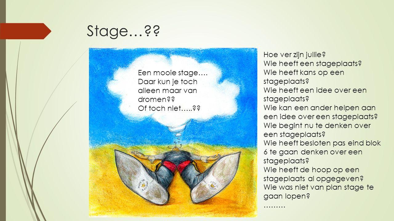 Stage…?? Hoe ver zijn jullie? Wie heeft een stageplaats? Wie heeft kans op een stageplaats? Wie heeft een idee over een stageplaats? Wie kan een ander