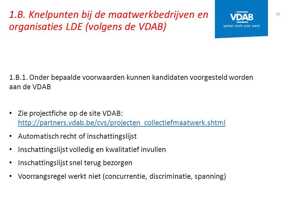 1.B.Knelpunten bij de maatwerkbedrijven en organisaties LDE (volgens de VDAB) 11 1.B.1.