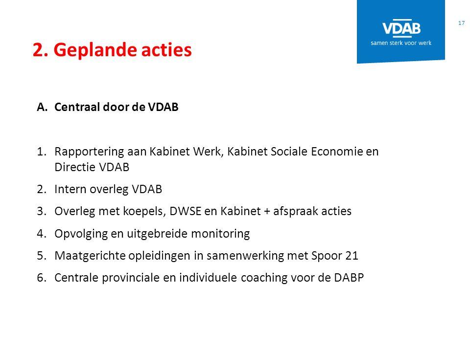 2. Geplande acties 17 A.Centraal door de VDAB 1.Rapportering aan Kabinet Werk, Kabinet Sociale Economie en Directie VDAB 2.Intern overleg VDAB 3.Overl