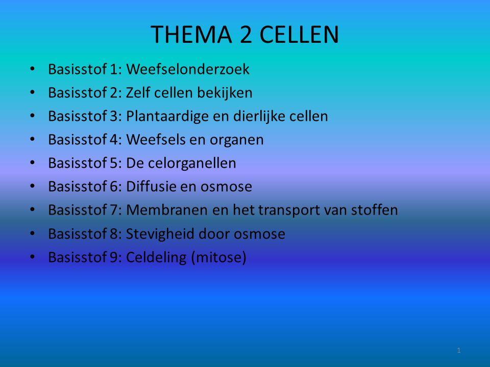 THEMA 2 CELLEN Basisstof 1: Weefselonderzoek Basisstof 2: Zelf cellen bekijken Basisstof 3: Plantaardige en dierlijke cellen Basisstof 4: Weefsels en organen Basisstof 5: De celorganellen Basisstof 6: Diffusie en osmose Basisstof 7: Membranen en het transport van stoffen Basisstof 8: Stevigheid door osmose Basisstof 9: Celdeling (mitose) 1
