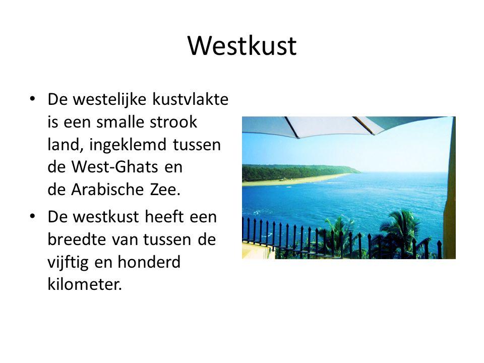 Westkust De westelijke kustvlakte is een smalle strook land, ingeklemd tussen de West-Ghats en de Arabische Zee.