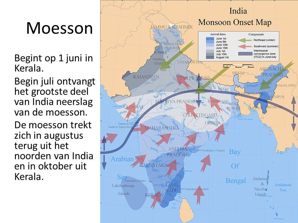 Moesson Begint op 1 juni in Kerala.