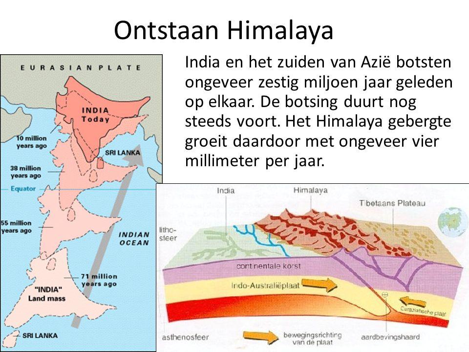 Ontstaan Himalaya India en het zuiden van Azië botsten ongeveer zestig miljoen jaar geleden op elkaar.