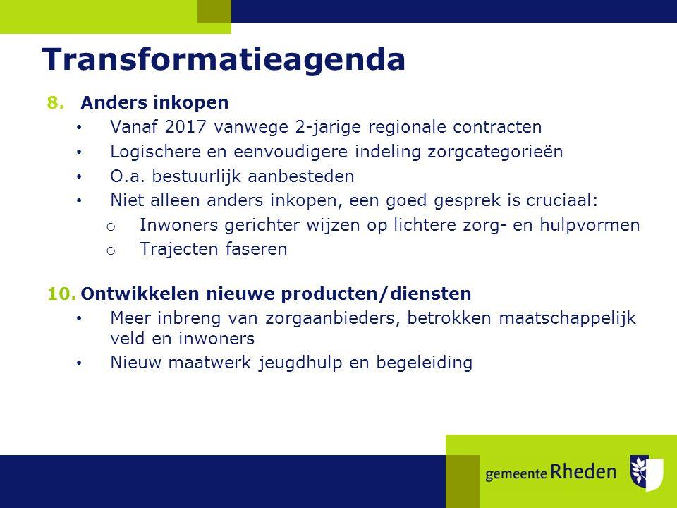 Transformatieagenda 8.Anders inkopen Vanaf 2017 vanwege 2-jarige regionale contracten Logischere en eenvoudigere indeling zorgcategorieën O.a.