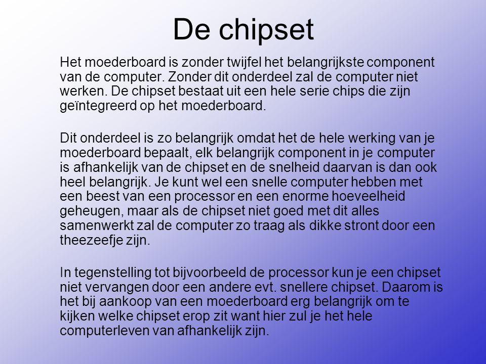 De chipset Het moederboard is zonder twijfel het belangrijkste component van de computer.