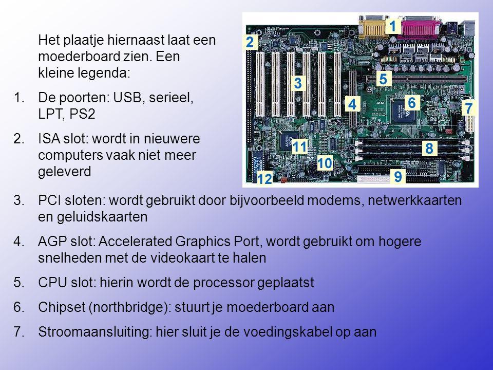 3.PCI sloten: wordt gebruikt door bijvoorbeeld modems, netwerkkaarten en geluidskaarten 4.AGP slot: Accelerated Graphics Port, wordt gebruikt om hogere snelheden met de videokaart te halen 5.CPU slot: hierin wordt de processor geplaatst 6.Chipset (northbridge): stuurt je moederboard aan 7.Stroomaansluiting: hier sluit je de voedingskabel op aan Het plaatje hiernaast laat een moederboard zien.
