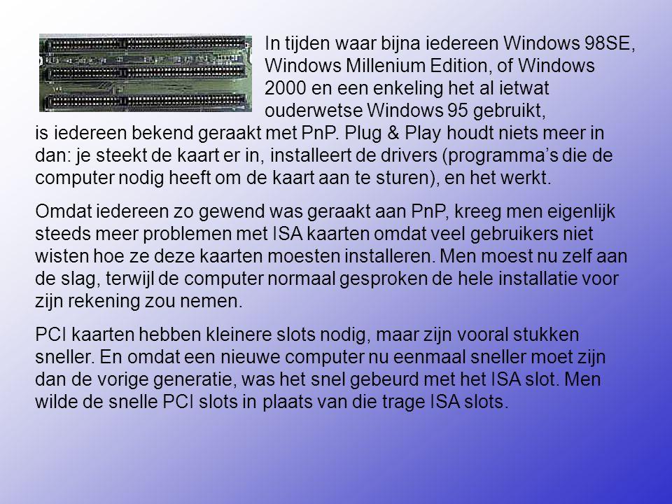 In tijden waar bijna iedereen Windows 98SE, Windows Millenium Edition, of Windows 2000 en een enkeling het al ietwat ouderwetse Windows 95 gebruikt, is iedereen bekend geraakt met PnP.