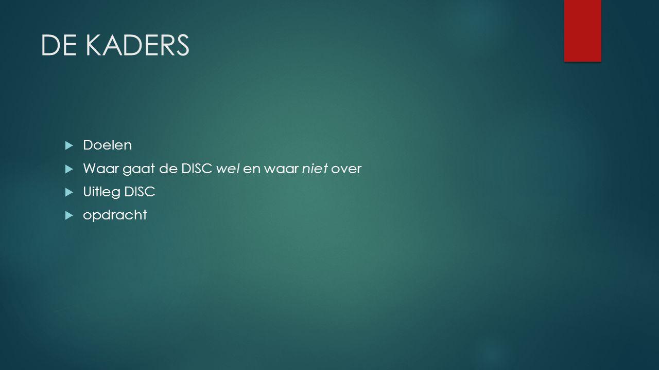 DE KADERS  Doelen  Waar gaat de DISC wel en waar niet over  Uitleg DISC  opdracht