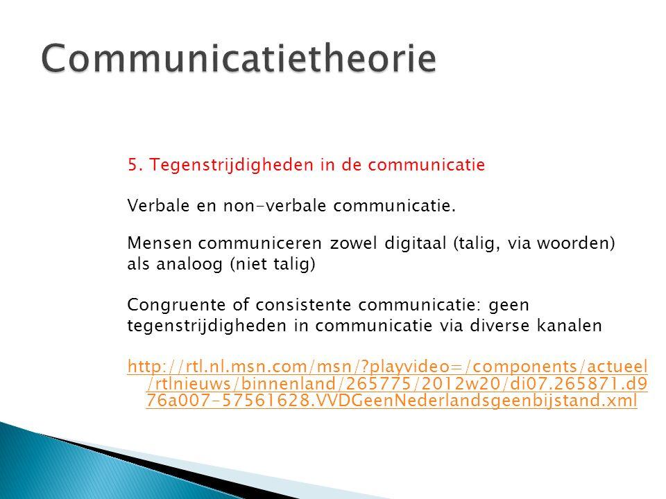 5. Tegenstrijdigheden in de communicatie Verbale en non-verbale communicatie. Mensen communiceren zowel digitaal (talig, via woorden) als analoog (nie