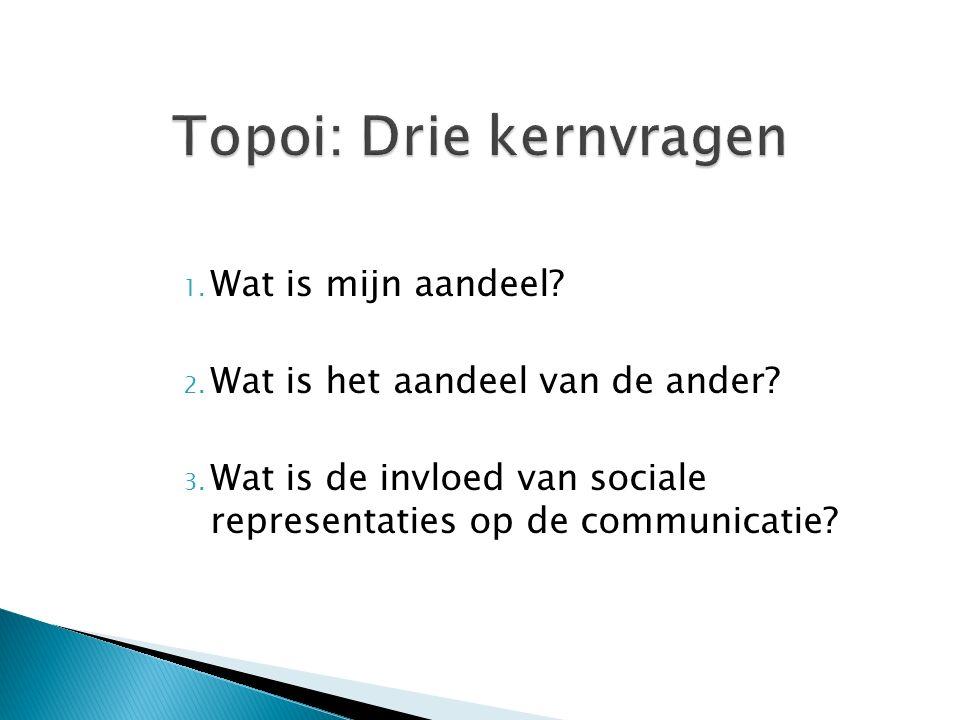 1. Wat is mijn aandeel? 2. Wat is het aandeel van de ander? 3. Wat is de invloed van sociale representaties op de communicatie?