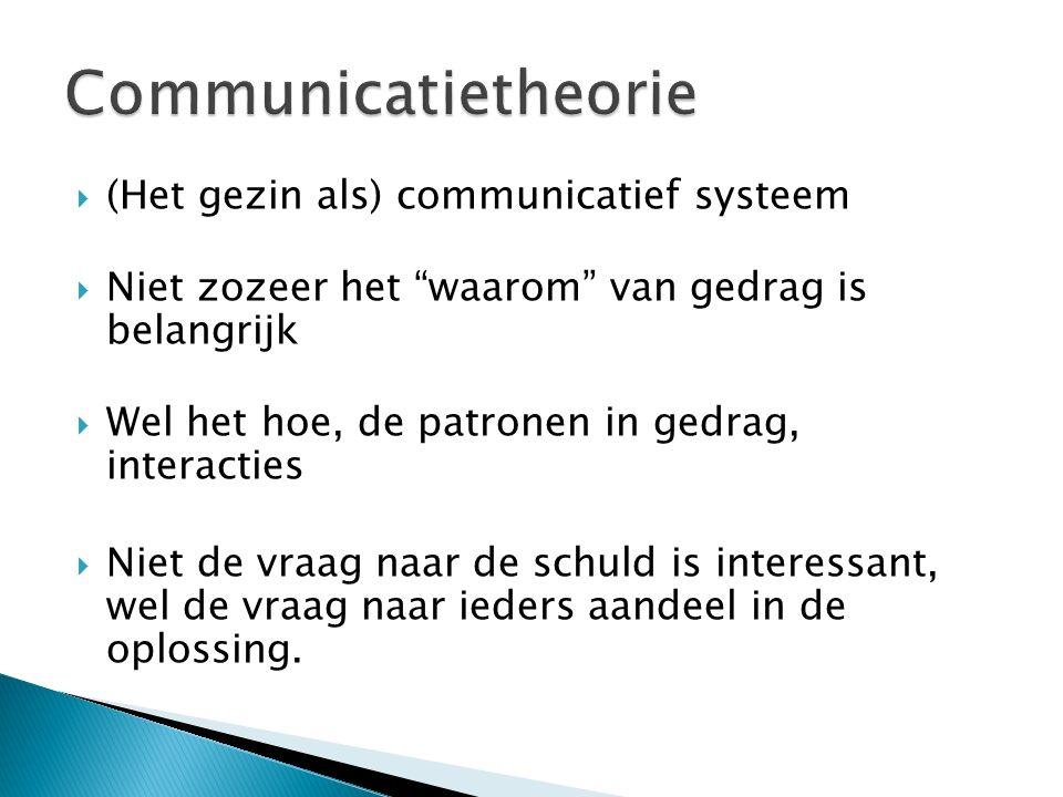 (Het gezin als) communicatief systeem  Niet zozeer het waarom van gedrag is belangrijk  Wel het hoe, de patronen in gedrag, interacties  Niet de vraag naar de schuld is interessant, wel de vraag naar ieders aandeel in de oplossing.