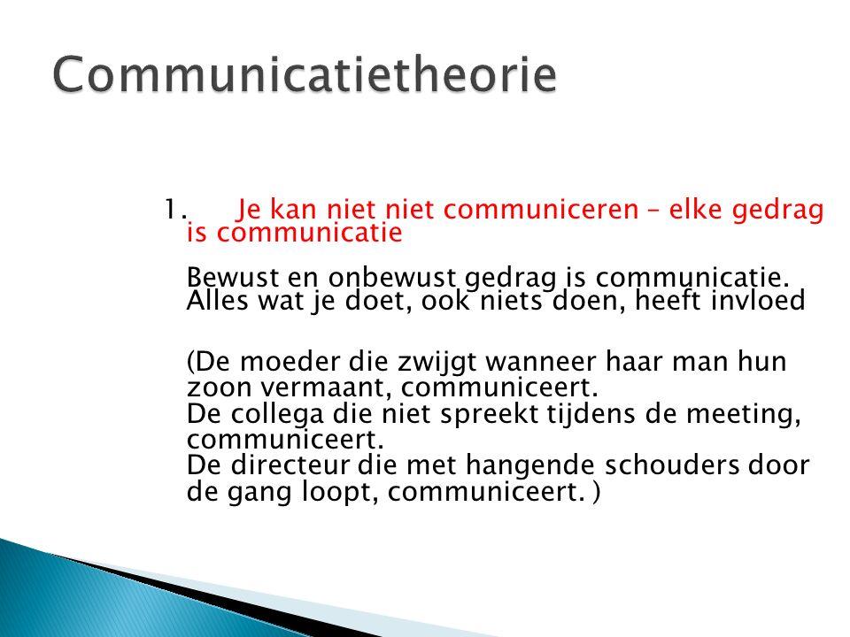 1. Je kan niet niet communiceren – elke gedrag is communicatie Bewust en onbewust gedrag is communicatie. Alles wat je doet, ook niets doen, heeft inv