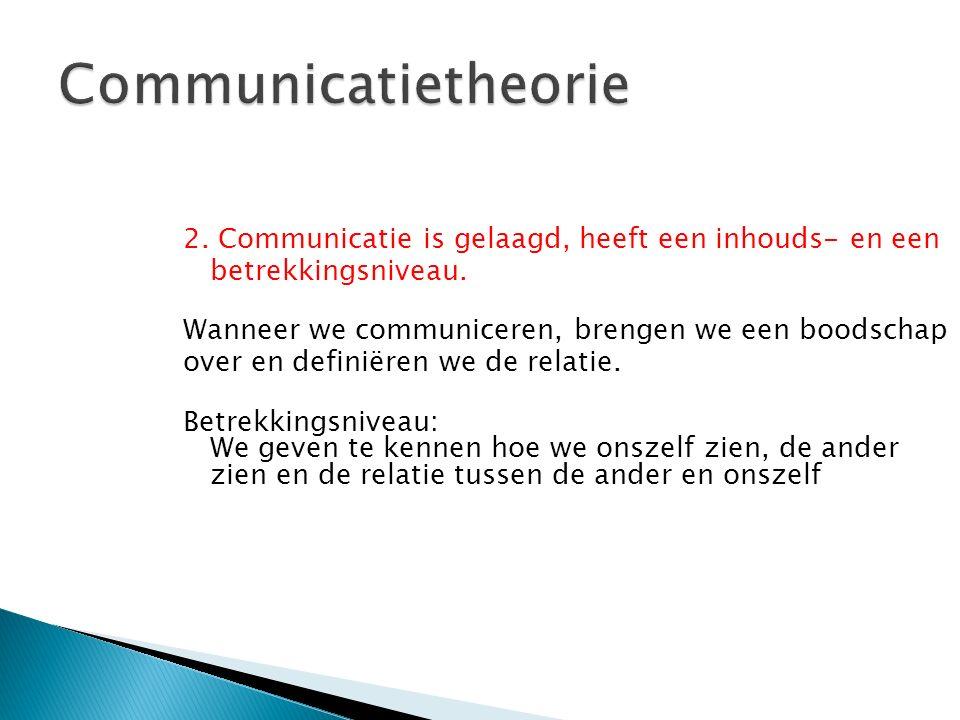 2. Communicatie is gelaagd, heeft een inhouds- en een betrekkingsniveau. Wanneer we communiceren, brengen we een boodschap over en definiëren we de re