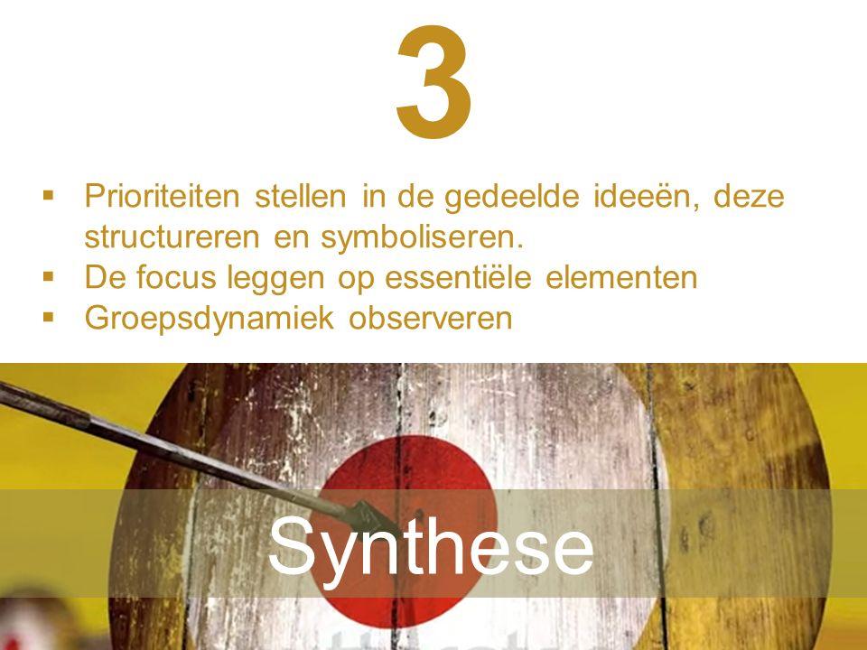  L'adulte apprend en s'appuyant sur des réalités concrètes 3 Synthese  Prioriteiten stellen in de gedeelde ideeën, deze structureren en symboliseren.