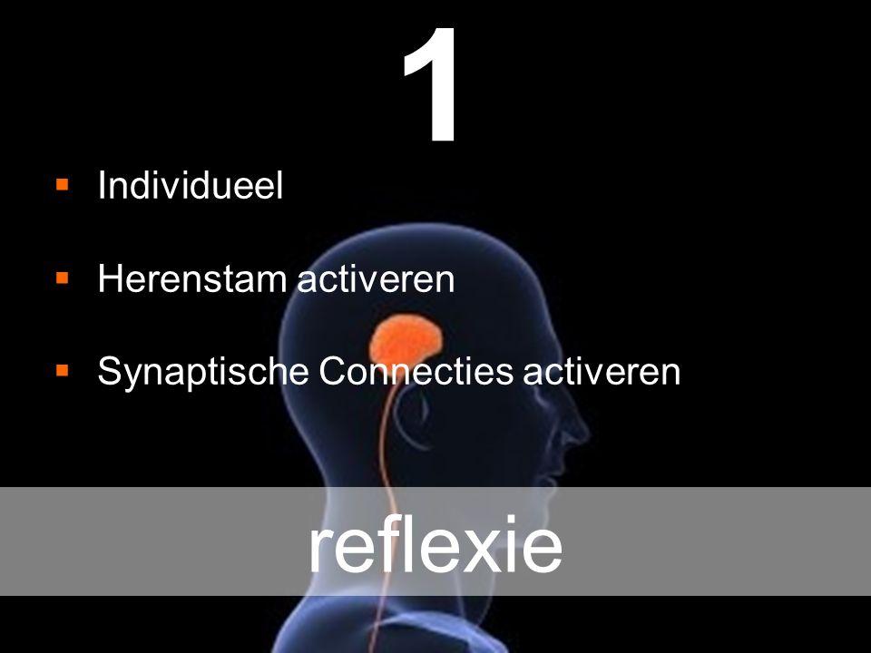 1  Individueel  Herenstam activeren  Synaptische Connecties activeren