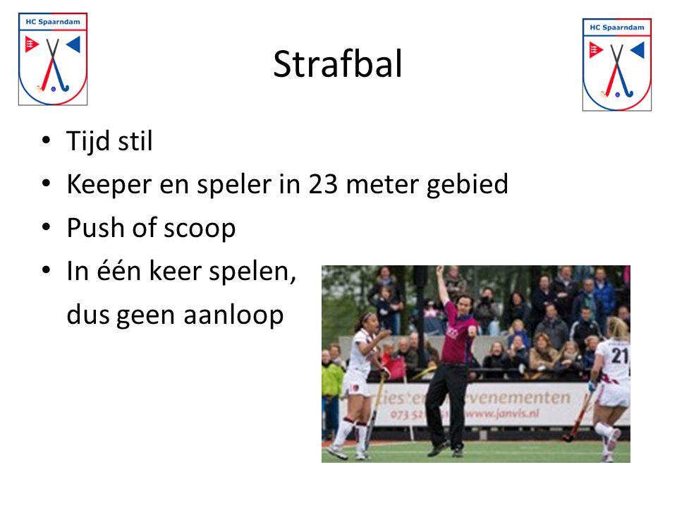 Strafbal Tijd stil Keeper en speler in 23 meter gebied Push of scoop In één keer spelen, dus geen aanloop