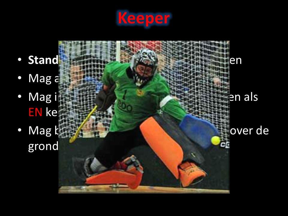 Standaard keeper MOET helm ophouden Mag alleen op eigen helft spelen Mag in eigen cirkel liggend spelen, alleen als EN keeper EN bal in cirkel zijn Mag bal met hand voortbewegen mits over de grond.
