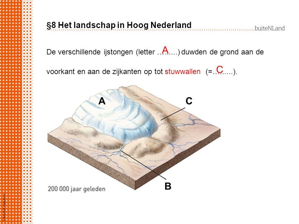 §8 Het landschap in Hoog Nederland De verschillende ijstongen (letter …......) duwden de grond aan de voorkant en aan de zijkanten op tot stuwwallen (