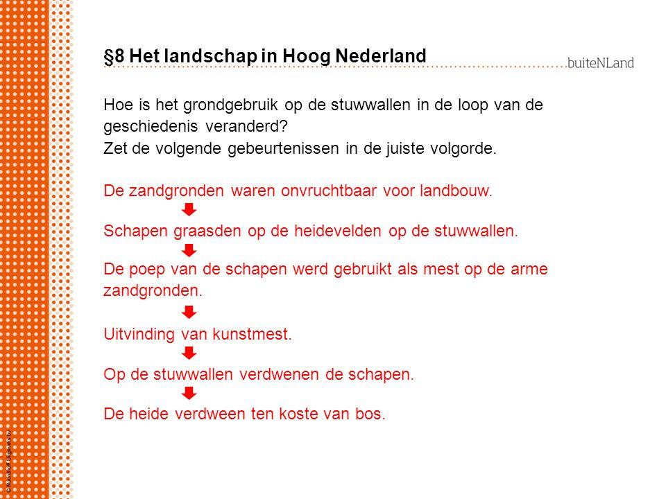§8 Het landschap in Hoog Nederland Hoe is het grondgebruik op de stuwwallen in de loop van de geschiedenis veranderd? Zet de volgende gebeurtenissen i