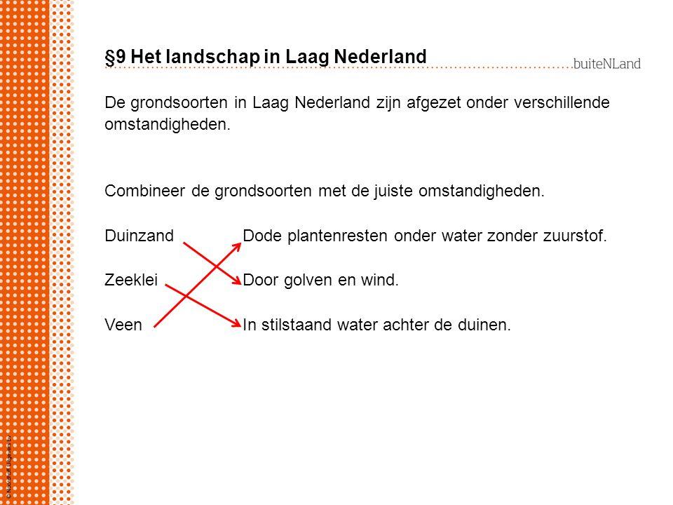 §9 Het landschap in Laag Nederland De grondsoorten in Laag Nederland zijn afgezet onder verschillende omstandigheden. Combineer de grondsoorten met de