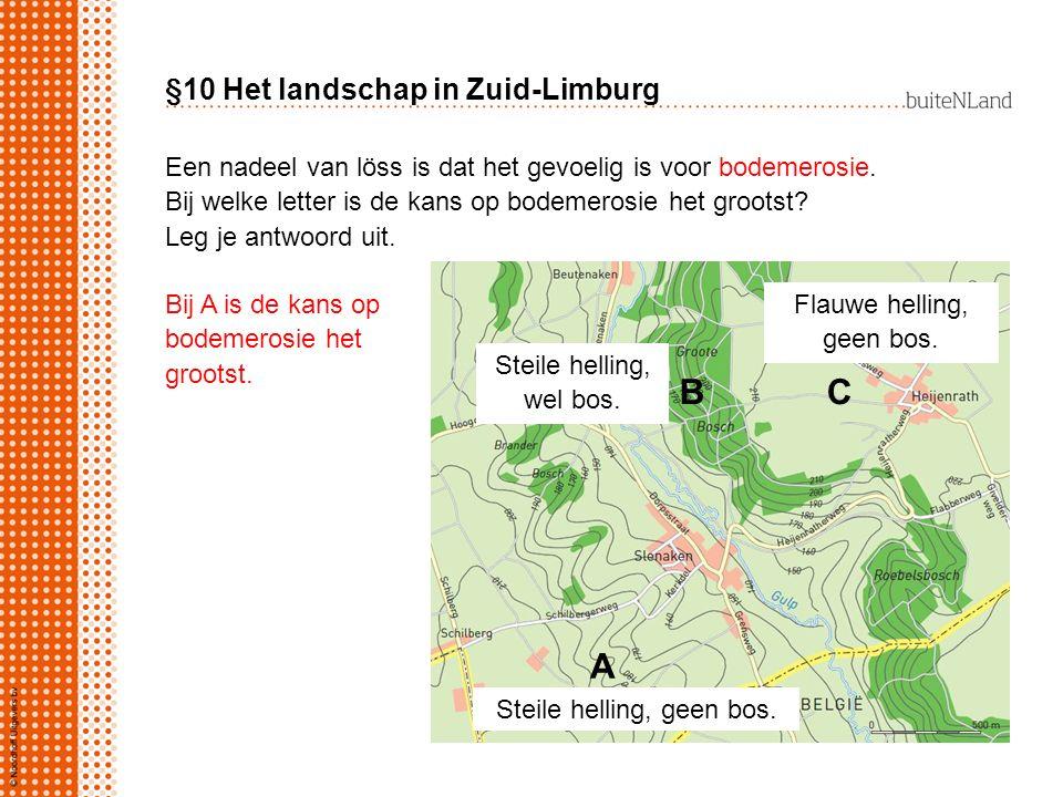 §10 Het landschap in Zuid-Limburg Een nadeel van löss is dat het gevoelig is voor bodemerosie. Bij welke letter is de kans op bodemerosie het grootst?