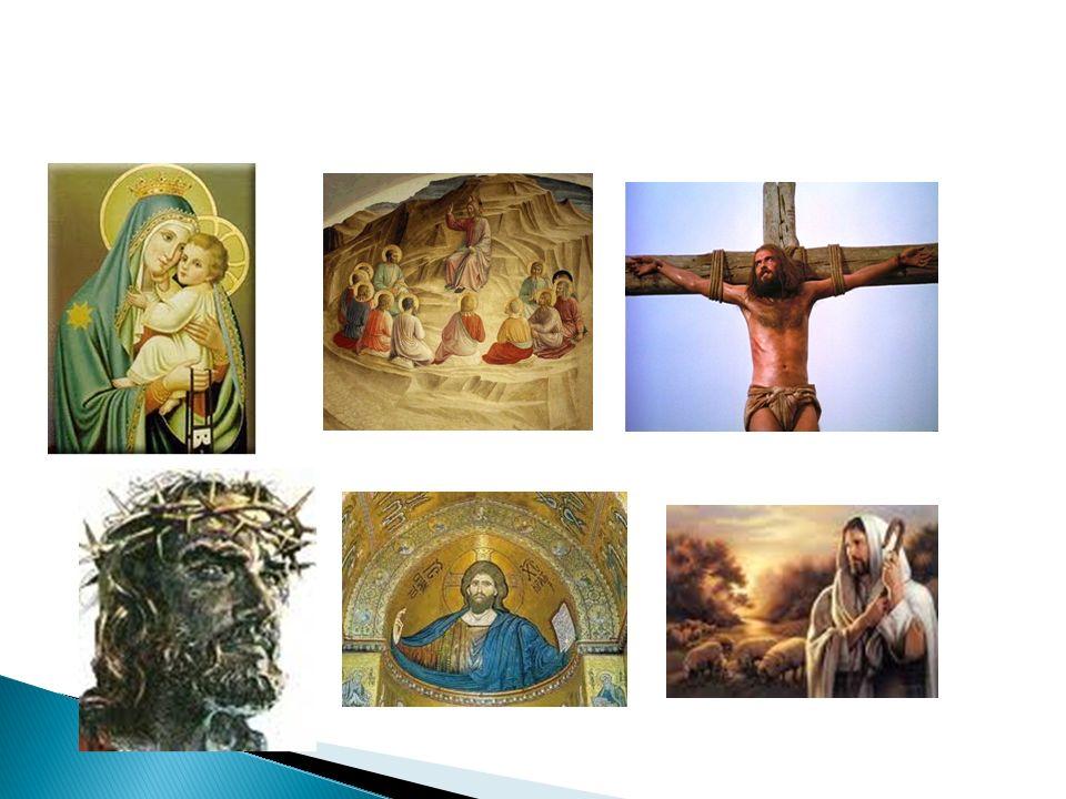 Jezusbeelden in de kunst: ◦ Als kind ◦ Als leraar, genezer ◦ Gekruisigde ◦ Koning ◦ Als herder  Jezus volgens christenen: ◦ Rechter ◦ Verlosser ◦ Medemens ◦ Idool