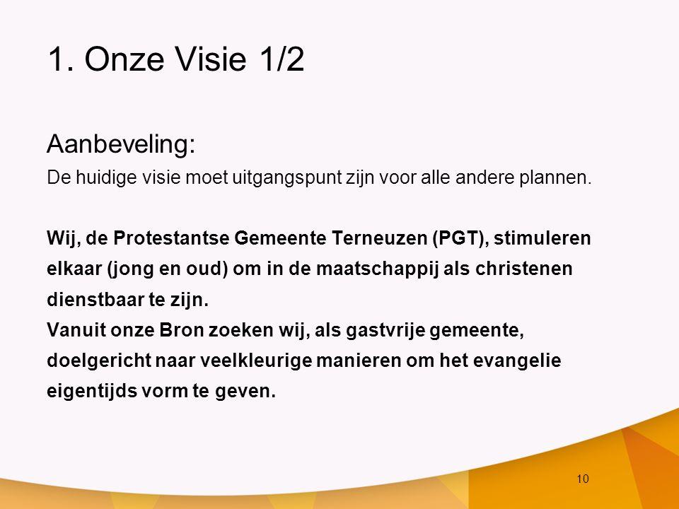 10 1. Onze Visie 1/2 Aanbeveling: De huidige visie moet uitgangspunt zijn voor alle andere plannen. Wij, de Protestantse Gemeente Terneuzen (PGT), sti