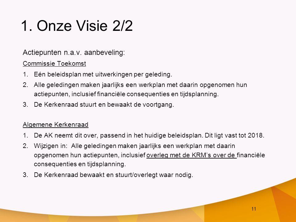 11 1. Onze Visie 2/2 Actiepunten n.a.v. aanbeveling: Commissie Toekomst 1.Eén beleidsplan met uitwerkingen per geleding. 2.Alle geledingen maken jaarl