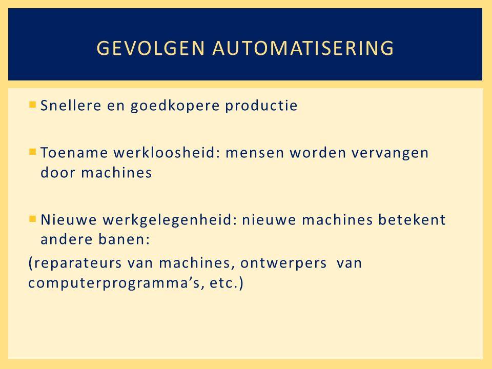  Snellere en goedkopere productie  Toename werkloosheid: mensen worden vervangen door machines  Nieuwe werkgelegenheid: nieuwe machines betekent andere banen: (reparateurs van machines, ontwerpers van computerprogramma's, etc.) GEVOLGEN AUTOMATISERING