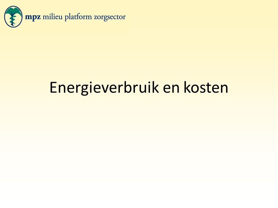 Energieverbruik en kosten