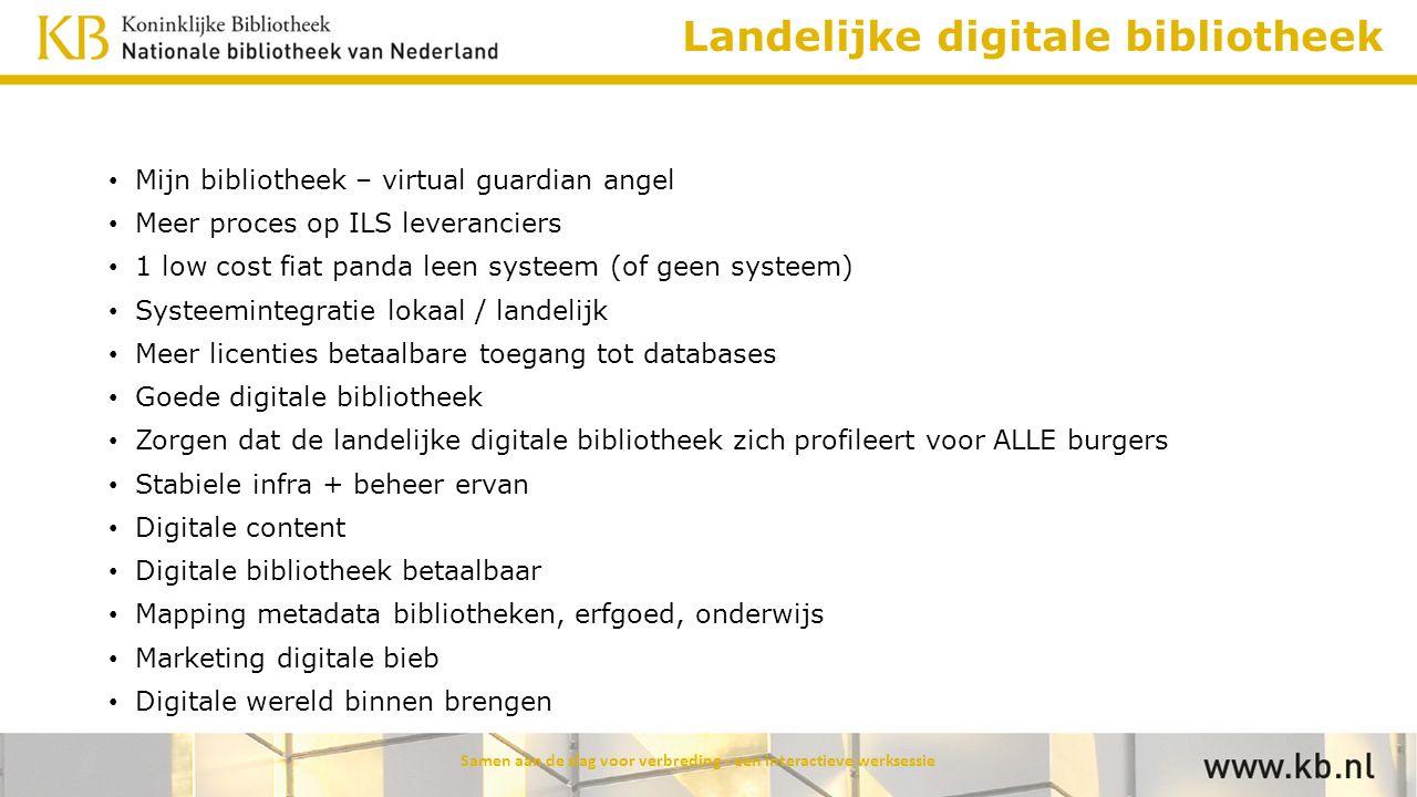 Landelijke digitale bibliotheek Mijn bibliotheek – virtual guardian angel Meer proces op ILS leveranciers 1 low cost fiat panda leen systeem (of geen