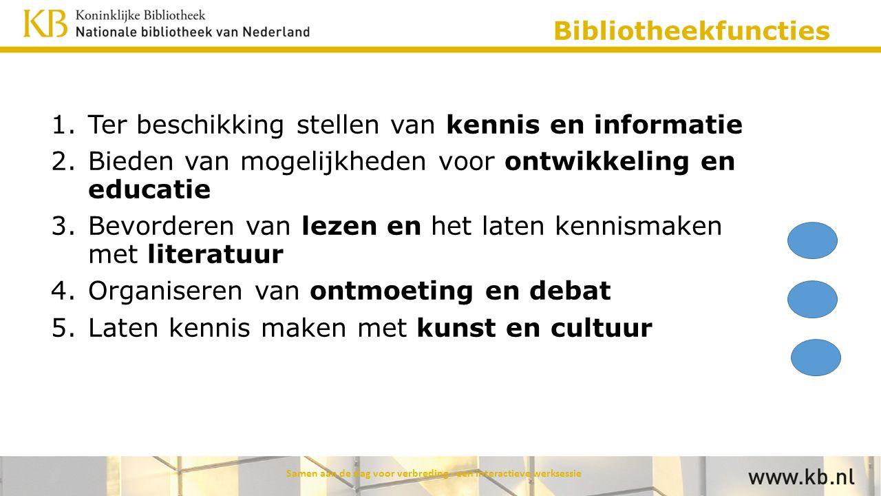 Bibliotheekfuncties 1.Ter beschikking stellen van kennis en informatie 2.Bieden van mogelijkheden voor ontwikkeling en educatie 3.Bevorderen van lezen