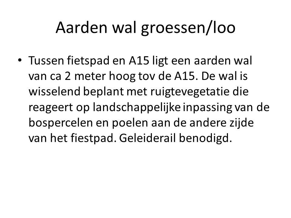 Aarden wal groessen/loo Tussen fietspad en A15 ligt een aarden wal van ca 2 meter hoog tov de A15.