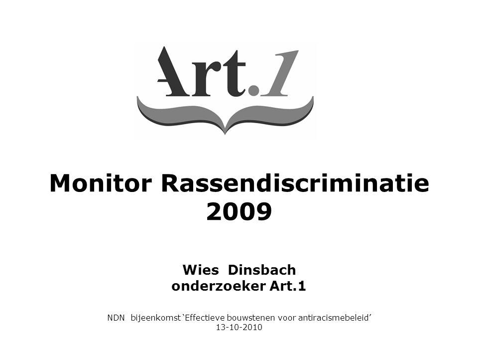 Wies Dinsbach onderzoeker Art.1 NDN bijeenkomst 'Effectieve bouwstenen voor antiracismebeleid' 13-10-2010 Monitor Rassendiscriminatie 2009