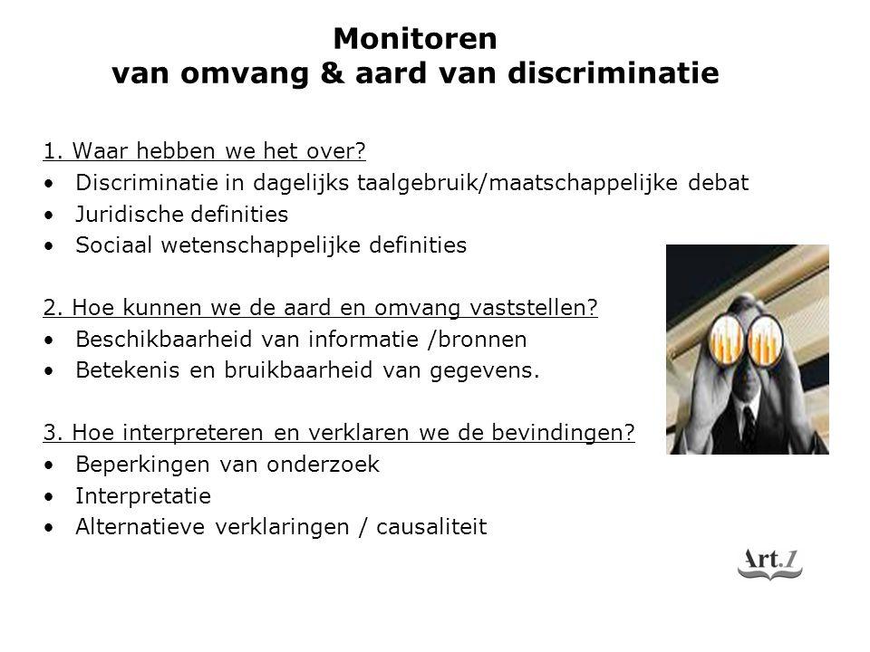 1. Waar hebben we het over? Discriminatie in dagelijks taalgebruik/maatschappelijke debat Juridische definities Sociaal wetenschappelijke definities 2
