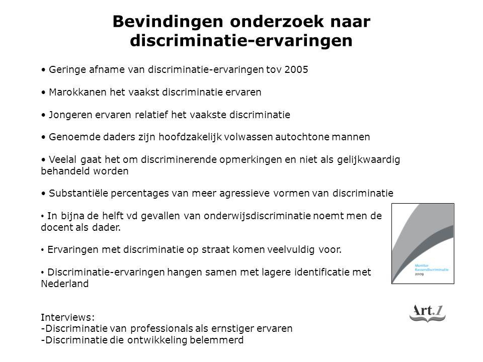 Bevindingen onderzoek naar discriminatie-ervaringen Geringe afname van discriminatie-ervaringen tov 2005 Marokkanen het vaakst discriminatie ervaren J