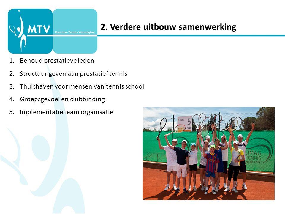 2. Verdere uitbouw samenwerking 1.Behoud prestatieve leden 2.Structuur geven aan prestatief tennis 3.Thuishaven voor mensen van tennis school 4.Groeps