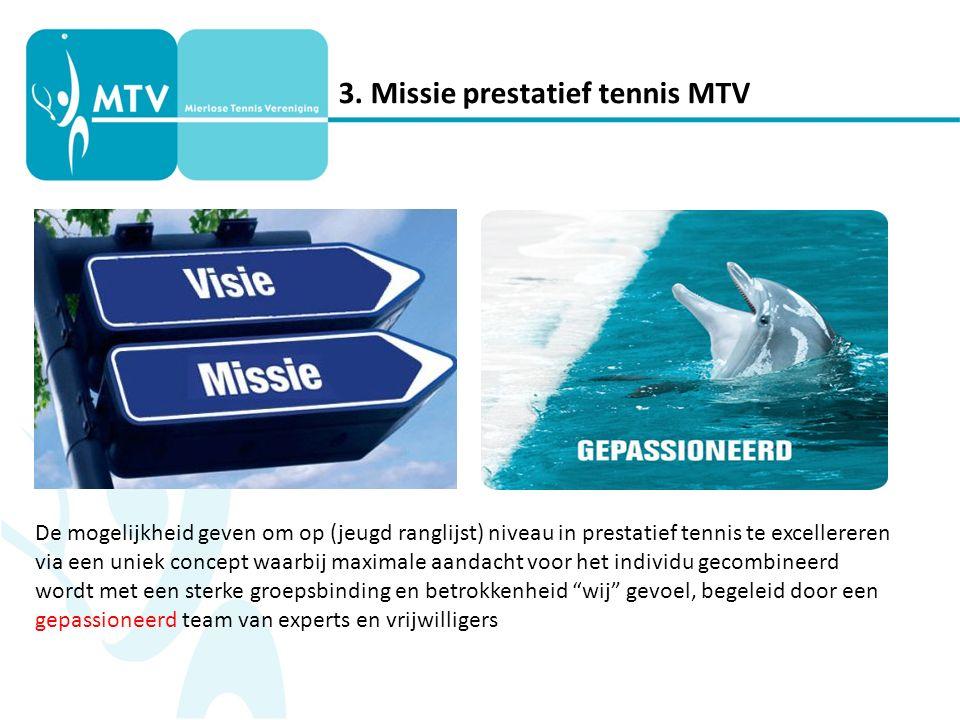 3. Missie prestatief tennis MTV De mogelijkheid geven om op (jeugd ranglijst) niveau in prestatief tennis te excellereren via een uniek concept waarbi