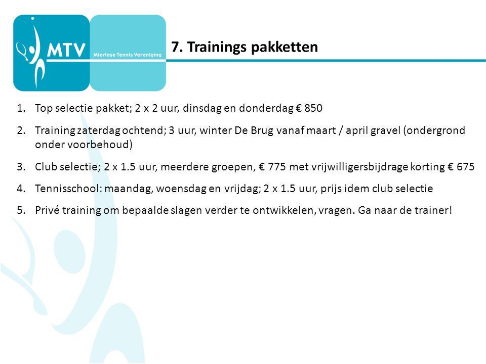 7. Trainings pakketten 1.Top selectie pakket; 2 x 2 uur, dinsdag en donderdag € 850 2.Training zaterdag ochtend; 3 uur, winter De Brug vanaf maart / a