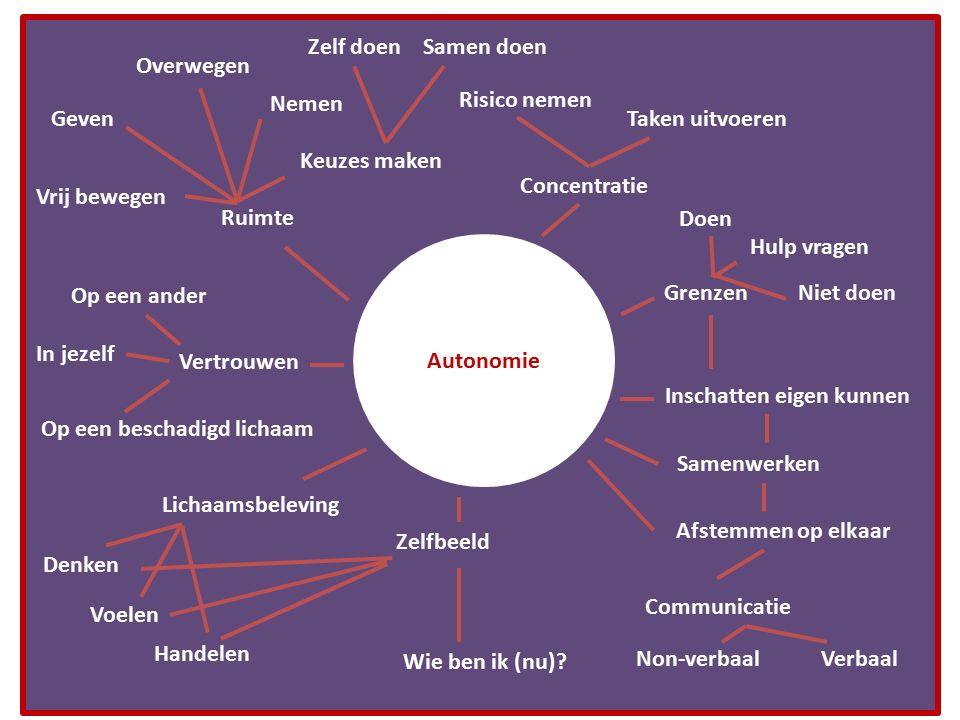 Autonomie Ruimte Concentratie Afstemmen op elkaar Samenwerken Inschatten eigen kunnen Grenzen Vertrouwen Lichaamsbeleving Zelfbeeld Keuzes maken Vrij