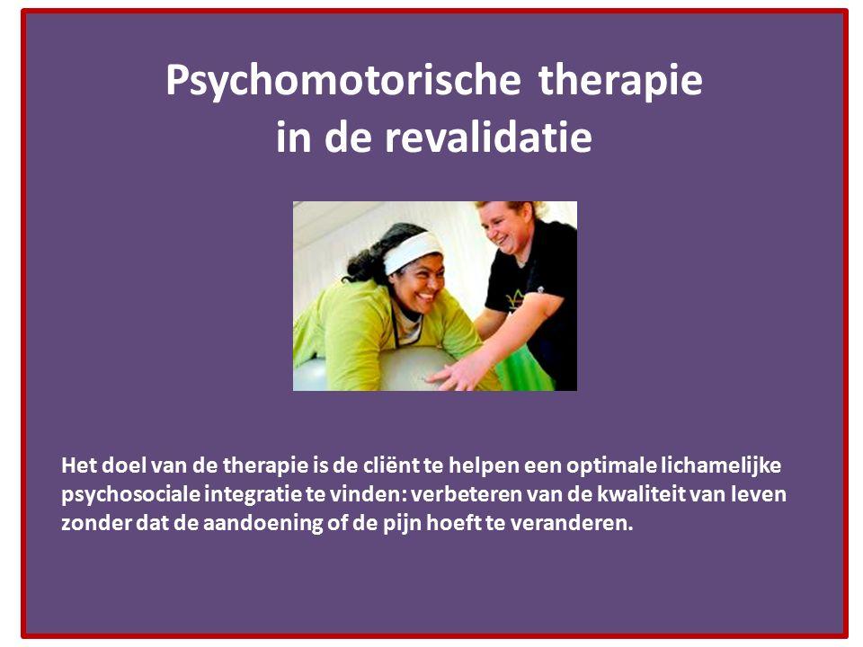 Psychomotorische therapie in de revalidatie Het doel van de therapie is de cliënt te helpen een optimale lichamelijke psychosociale integratie te vind