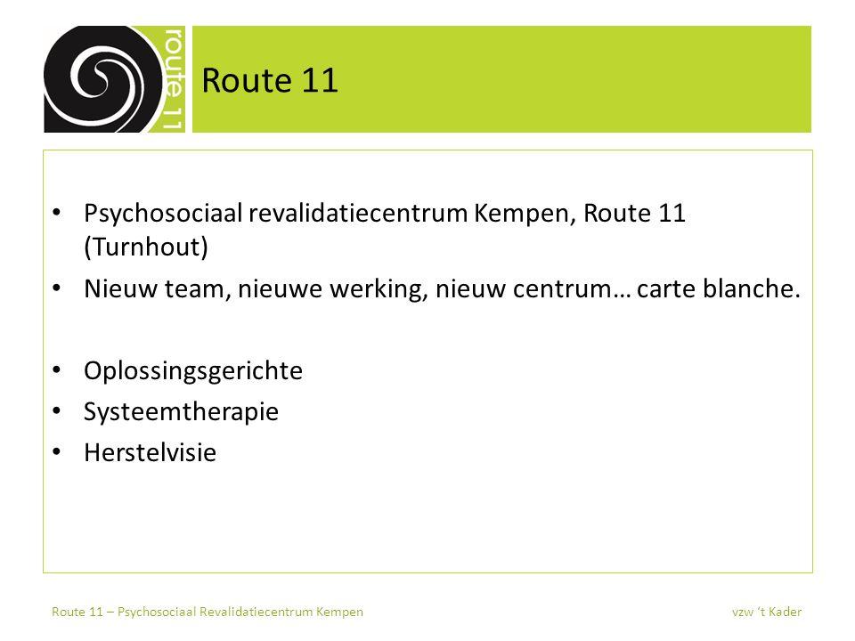 Route 11 Psychosociaal revalidatiecentrum Kempen, Route 11 (Turnhout) Nieuw team, nieuwe werking, nieuw centrum… carte blanche. Oplossingsgerichte Sys