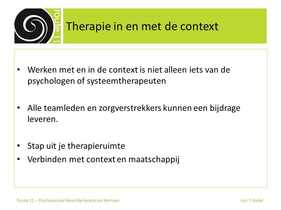 Therapie in en met de context Werken met en in de context is niet alleen iets van de psychologen of systeemtherapeuten Alle teamleden en zorgverstrekk