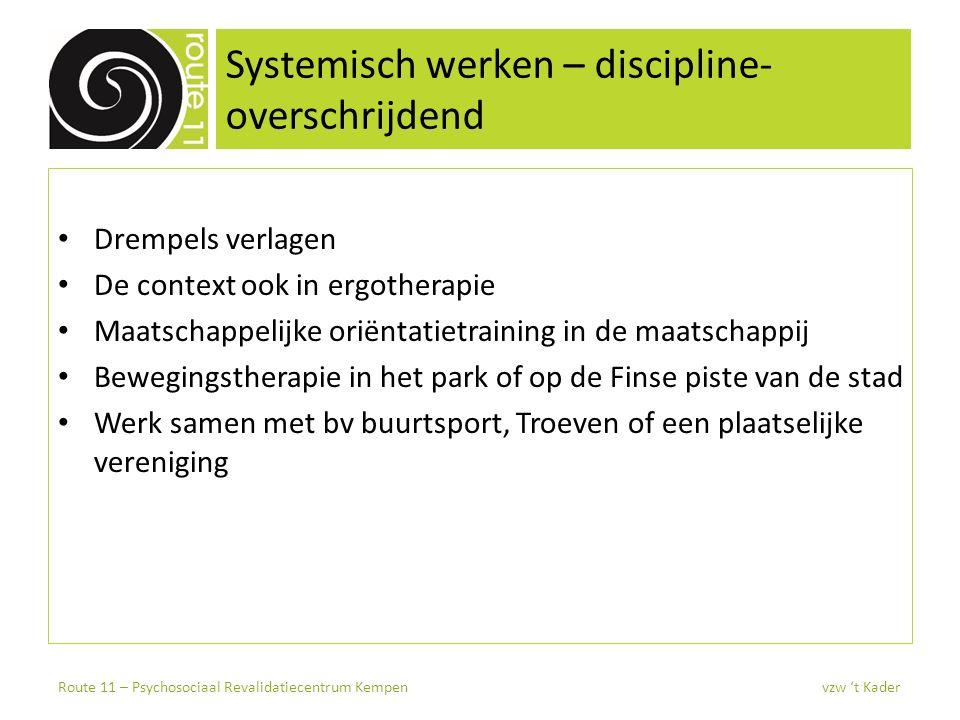 Systemisch werken – discipline- overschrijdend Drempels verlagen De context ook in ergotherapie Maatschappelijke oriëntatietraining in de maatschappij