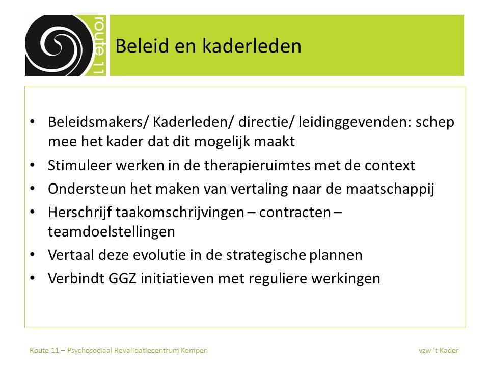 Beleid en kaderleden Beleidsmakers/ Kaderleden/ directie/ leidinggevenden: schep mee het kader dat dit mogelijk maakt Stimuleer werken in de therapier