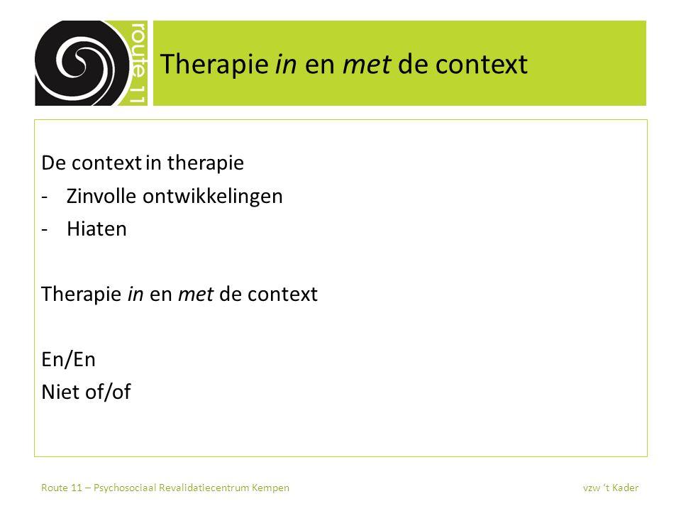 Therapie in en met de context De context in therapie -Zinvolle ontwikkelingen -Hiaten Therapie in en met de context En/En Niet of/of Route 11 – Psycho